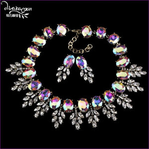 Wedding Party Jewelry Sets Women Indian Bridal Necklace & Earrings - Shine AB - Jewelry Sets Jewelry Sets