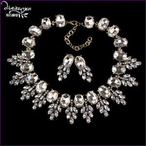 Wedding Party Jewelry Sets Women Indian Bridal Necklace & Earrings - White - Jewelry Sets Jewelry Sets