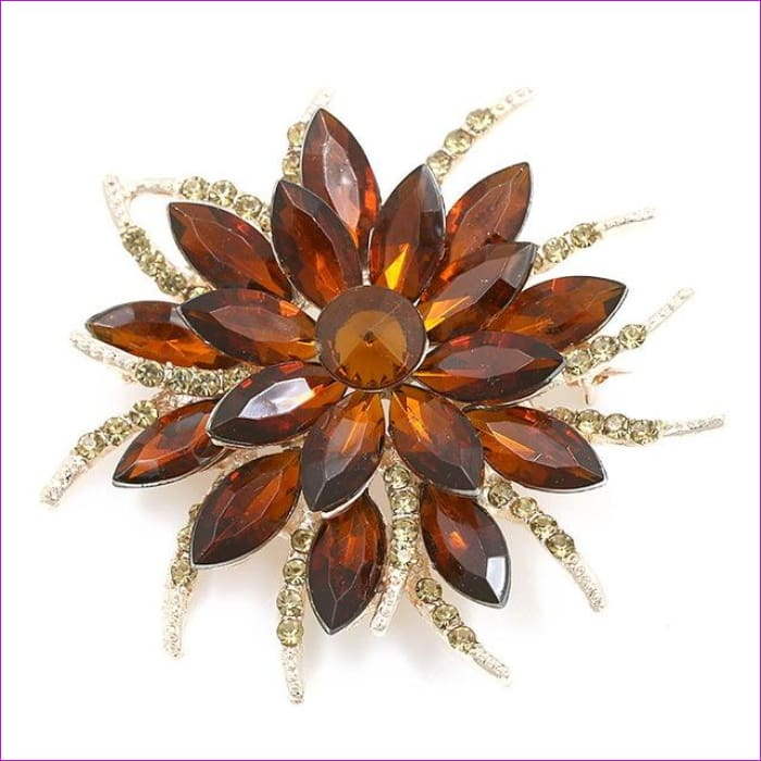 WEIMANJINGDIAN Beautiful Assorted Colors Crystal Daisy Flower Fashion Brooch Pins for Women - 7938 COFFEE - Brooch Brooch