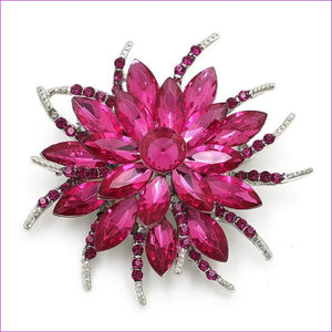 WEIMANJINGDIAN Beautiful Assorted Colors Crystal Daisy Flower Fashion Brooch Pins for Women - 7938 FUSCHIA - Brooch Brooch