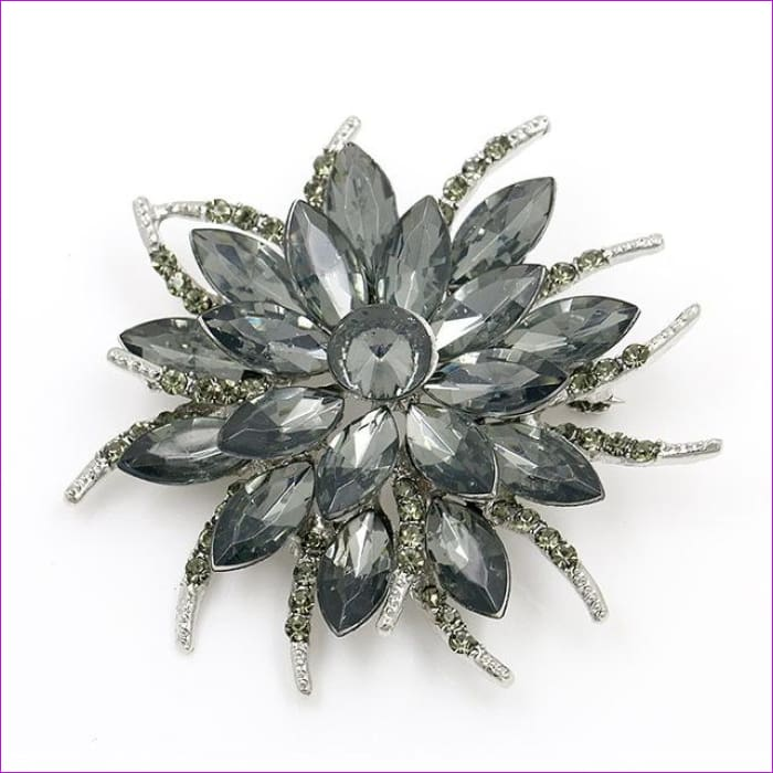 WEIMANJINGDIAN Beautiful Assorted Colors Crystal Daisy Flower Fashion Brooch Pins for Women - 7938 GREY - Brooch Brooch