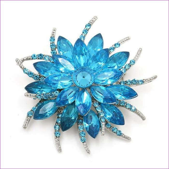 WEIMANJINGDIAN Beautiful Assorted Colors Crystal Daisy Flower Fashion Brooch Pins for Women - 7938 LT BLUE - Brooch Brooch
