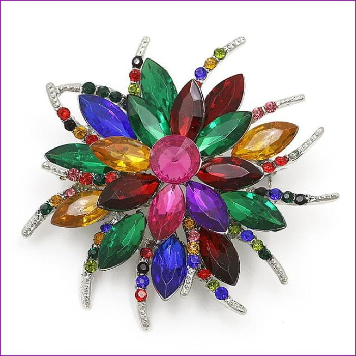 WEIMANJINGDIAN Beautiful Assorted Colors Crystal Daisy Flower Fashion Brooch Pins for Women - 7938 MULTICOLOR - Brooch Brooch