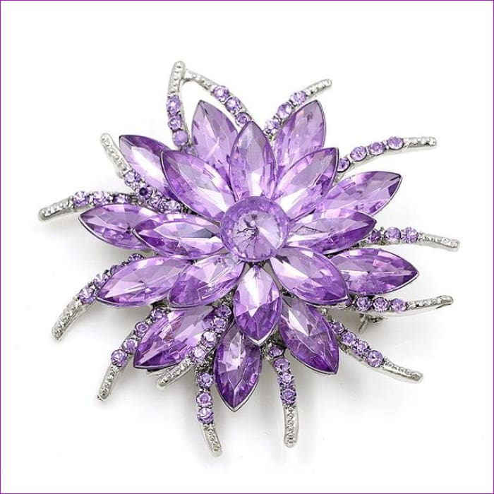 WEIMANJINGDIAN Beautiful Assorted Colors Crystal Daisy Flower Fashion Brooch Pins for Women - 7938 PURPLE - Brooch Brooch