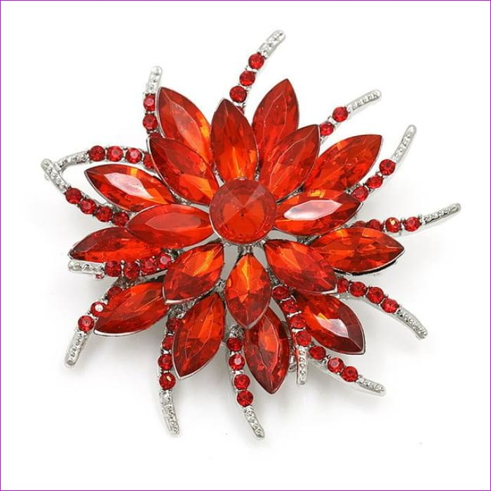 WEIMANJINGDIAN Beautiful Assorted Colors Crystal Daisy Flower Fashion Brooch Pins for Women - 7938 RED - Brooch Brooch
