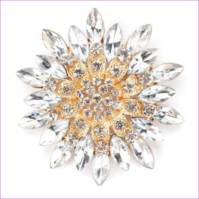 WEIMANJINGDIAN Beautiful Assorted Colors Crystal Daisy Flower Fashion Brooch Pins for Women - clear - Brooch Brooch