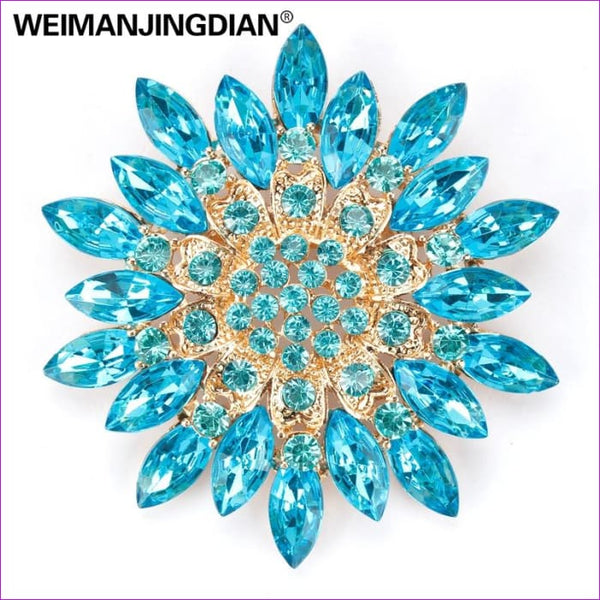 WEIMANJINGDIAN Beautiful Assorted Colors Crystal Daisy Flower Fashion Brooch Pins for Women - Brooch Brooch