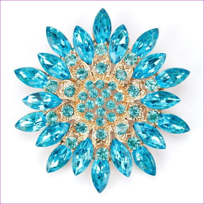 WEIMANJINGDIAN Beautiful Assorted Colors Crystal Daisy Flower Fashion Brooch Pins for Women - light blue - Brooch Brooch