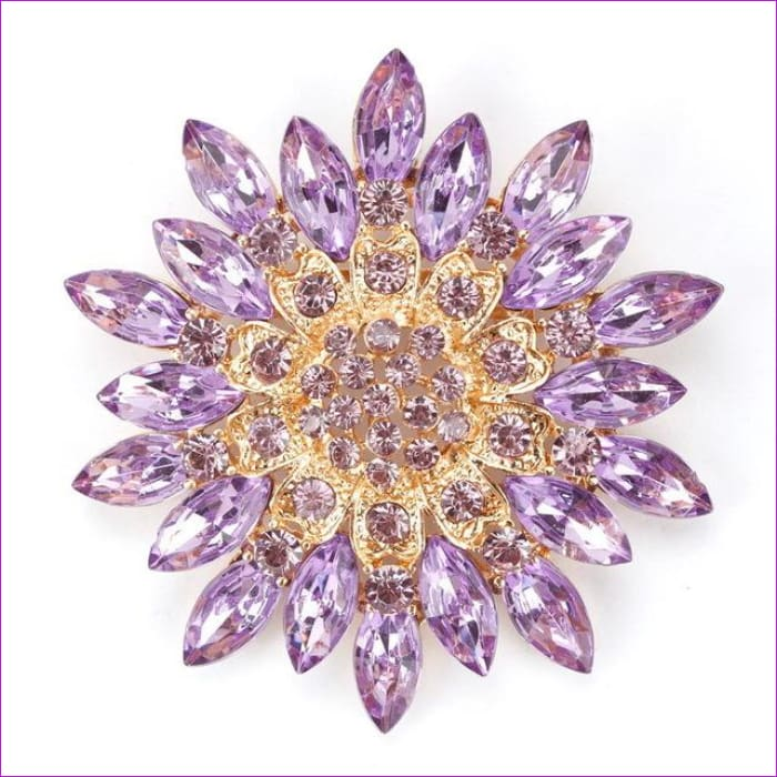 WEIMANJINGDIAN Beautiful Assorted Colors Crystal Daisy Flower Fashion Brooch Pins for Women - purple - Brooch Brooch