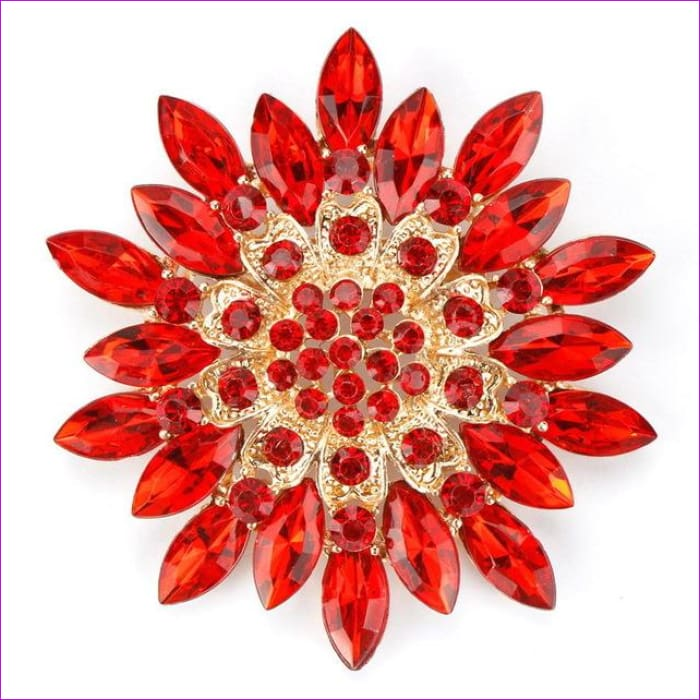 WEIMANJINGDIAN Beautiful Assorted Colors Crystal Daisy Flower Fashion Brooch Pins for Women - red - Brooch Brooch