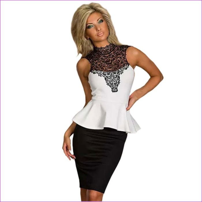 Wendywu Sleeveless White Black Women Work Wear Sexy Lace Patchwork Bodycon Peplum Dress - Work Dresses cf-color-ml18077-peplum-dress
