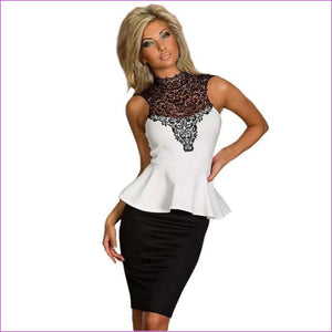 Wendywu Sleeveless White Black Women Work Wear Sexy Lace Patchwork Bodycon Peplum Dress - ML18077 Peplum Dress / L - Work Dresses