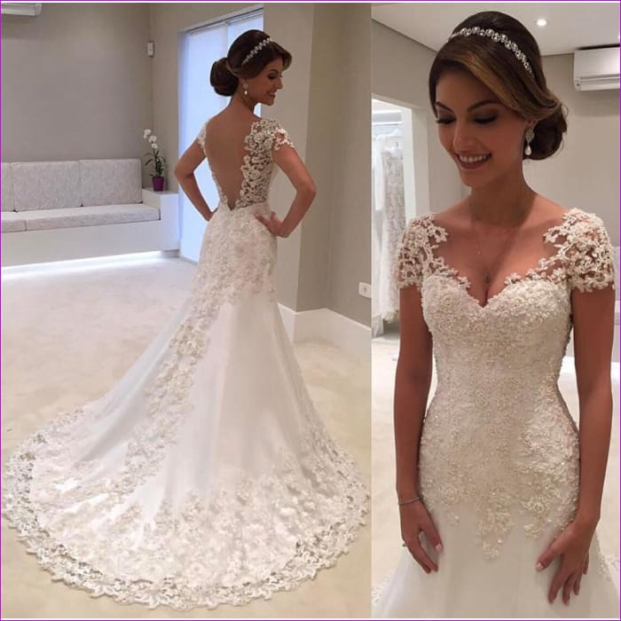 White Backless Lace Mermaid V-Neck Short Sleeve Wedding Gown - Bridal Dresses