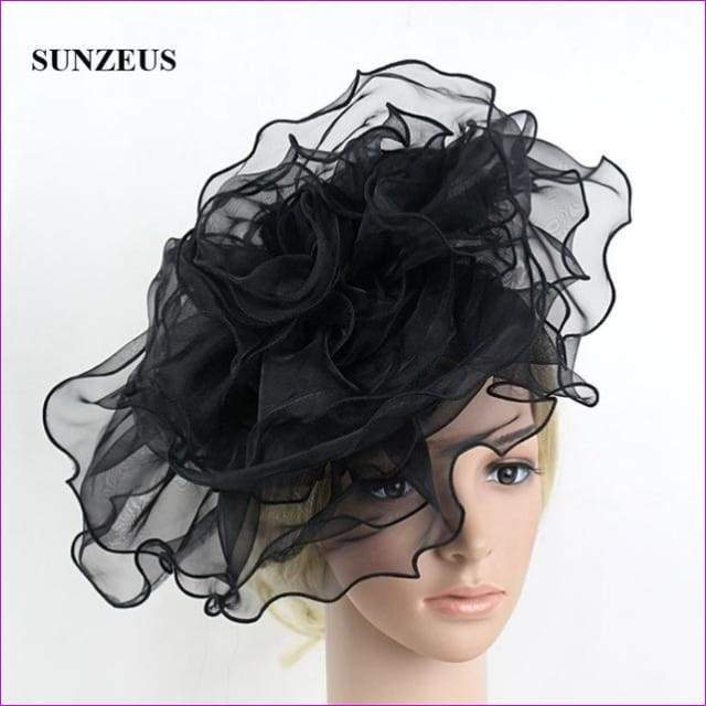 White Bridal Hats with Headband Big Flowers Girls Dancing Hair Accessories - Black - Bridal Hats