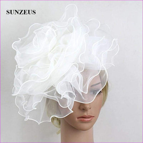 White Bridal Hats with Headband Big Flowers Girls Dancing Hair Accessories - Bridal Hats