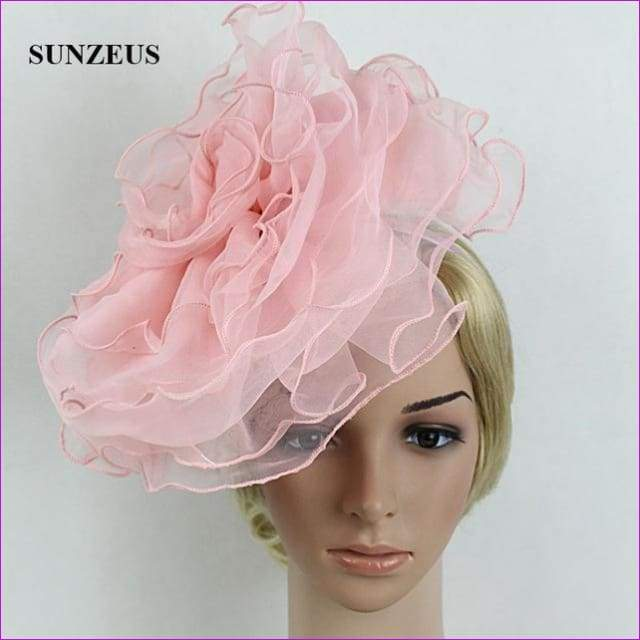 White Bridal Hats with Headband Big Flowers Girls Dancing Hair Accessories - Pink - Bridal Hats