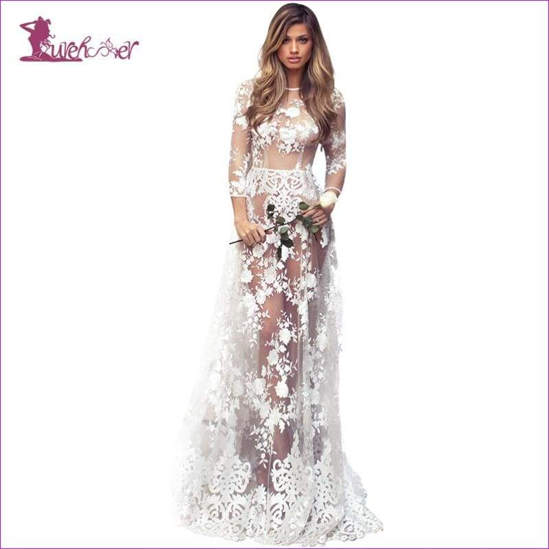 White Bride Wedding Dress Uniform Embroidery Lace Floor Length Dress - Bridal Lingerie