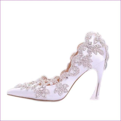 White Elegant Satin Pointed Wedding Heels Crystal Diamond Bridal Dress Shoes - 9cm / 5 - High Heel Shoes