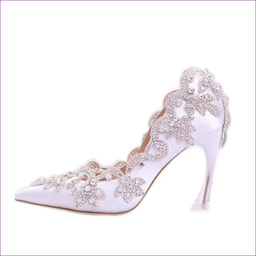 White Elegant Satin Pointed Wedding Heels Crystal Diamond Bridal Dress Shoes - High Heel Shoes