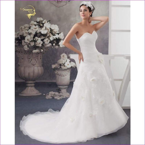 White Mariage Bridal Flower A Line Applique Wedding Dresses - Bridal Dresses