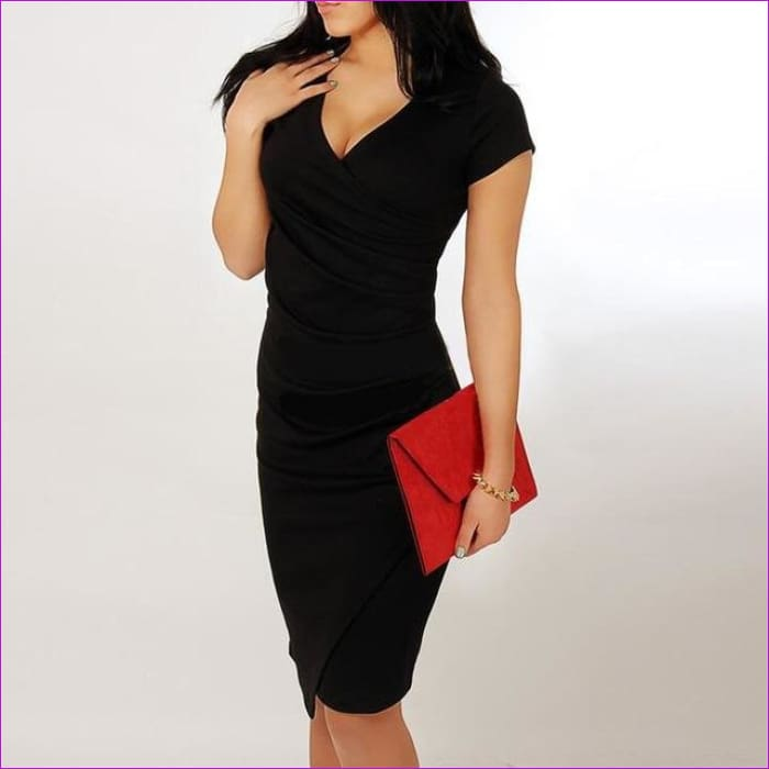 Wholesale Hot Sale New Fashion V-neck Short Sleeve Irregual Pencil Party Evening Sexy Bodycon Women Dresses Size S M L XL XXL - Black / S -