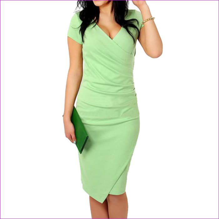 Wholesale Hot Sale New Fashion V-neck Short Sleeve Irregual Pencil Party Evening Sexy Bodycon Women Dresses Size S M L XL XXL - Work Dresses