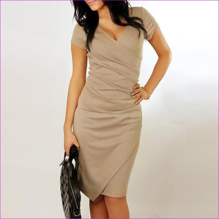 Wholesale Hot Sale New Fashion V-neck Short Sleeve Irregual Pencil Party Evening Sexy Bodycon Women Dresses Size S M L XL XXL - Khaki / S -