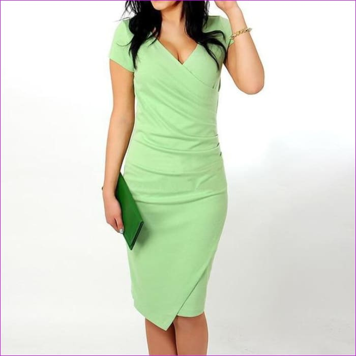 Wholesale Hot Sale New Fashion V-neck Short Sleeve Irregual Pencil Party Evening Sexy Bodycon Women Dresses Size S M L XL XXL - Light green