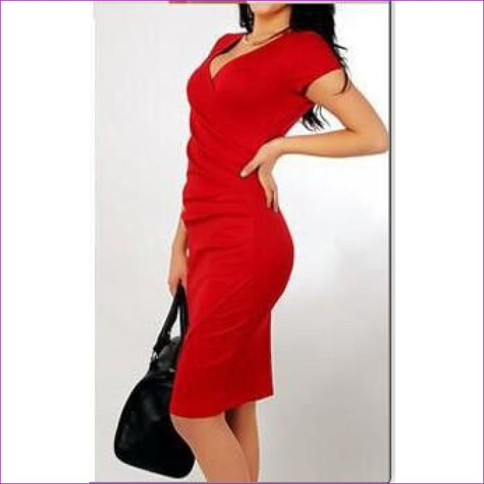 Wholesale Hot Sale New Fashion V-neck Short Sleeve Irregual Pencil Party Evening Sexy Bodycon Women Dresses Size S M L XL XXL - Red / S -