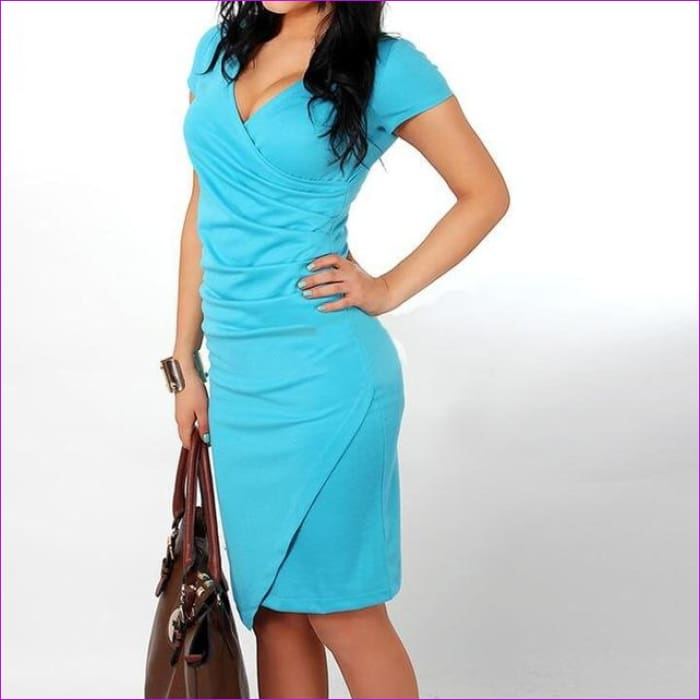Wholesale Hot Sale New Fashion V-neck Short Sleeve Irregual Pencil Party Evening Sexy Bodycon Women Dresses Size S M L XL XXL - Sky Blue / S