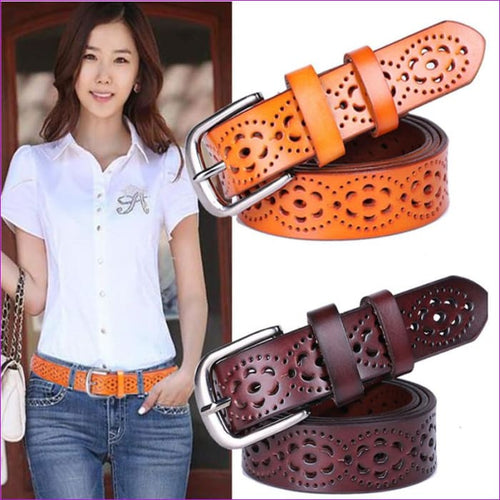Wide Genuine Leather Belt Woman Without Drilling Luxury Jeans Belts Female Top Quality Straps - Womens Belts cf-color-black cf-color-brown