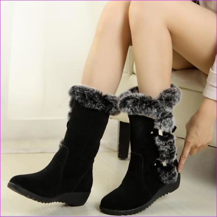 Winter Ladies Snow Boots Shoes Thigh High Suede Mid-Calf Boots Autumn Flock - Black / 4 - Womens Boots Womens Boots
