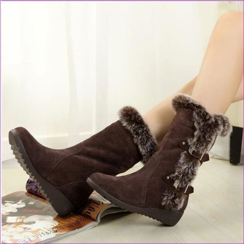 Winter Ladies Snow Boots Shoes Thigh High Suede Mid-Calf Boots Autumn Flock - Brown / 4 - Womens Boots Womens Boots