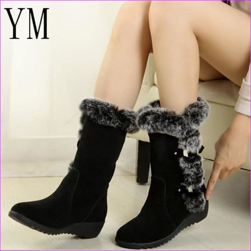 Winter Ladies Snow Boots Shoes Thigh High Suede Mid-Calf Boots Autumn Flock - Womens Boots Womens Boots