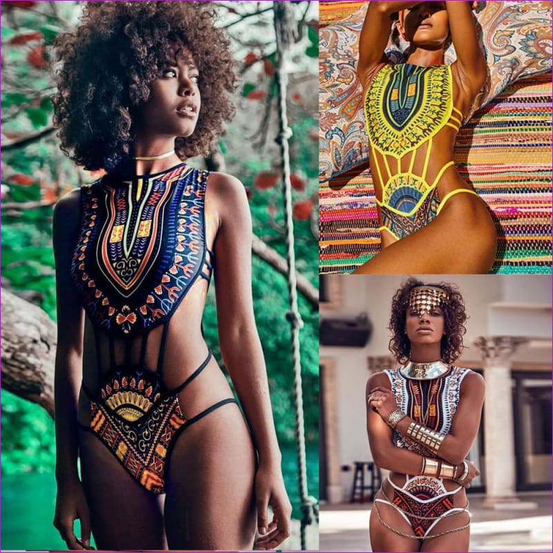 Women African Print Bikini Set Swimwear Push-Up Padded Bra Swimsuit Beachwear Lady Print Vintage Ethnic Bikini 1 - Bikini Sets