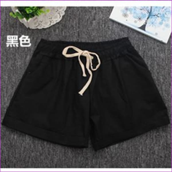Women Cotton Shorts 2017 Summer Fashion Candy Color Elastic Waist Drawstring Short Pants Woman Casual Plus Size Shorts - Black / One Size -