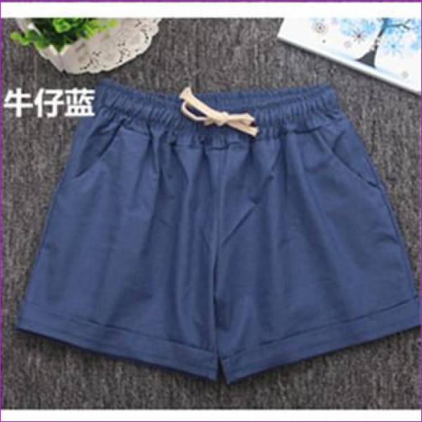 Women Cotton Shorts 2017 Summer Fashion Candy Color Elastic Waist Drawstring Short Pants Woman Casual Plus Size Shorts - Blue / One Size -