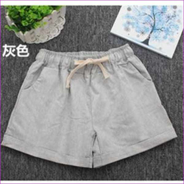 Women Cotton Shorts 2017 Summer Fashion Candy Color Elastic Waist Drawstring Short Pants Woman Casual Plus Size Shorts - Gray / One Size -