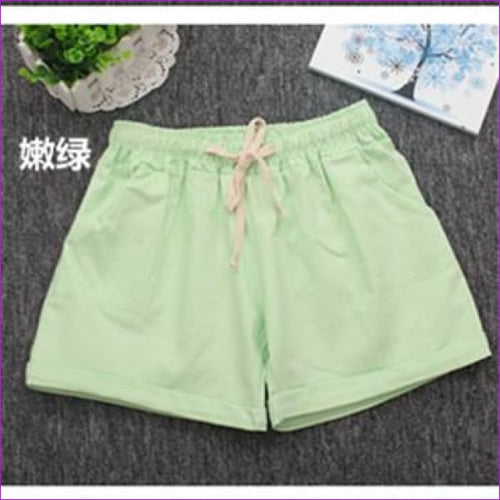 Women Cotton Shorts 2017 Summer Fashion Candy Color Elastic Waist Drawstring Short Pants Woman Casual Plus Size Shorts - Green / One Size -
