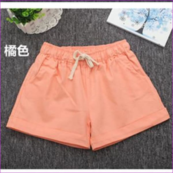 Women Cotton Shorts 2017 Summer Fashion Candy Color Elastic Waist Drawstring Short Pants Woman Casual Plus Size Shorts - Orange / One Size -