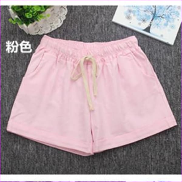 Women Cotton Shorts 2017 Summer Fashion Candy Color Elastic Waist Drawstring Short Pants Woman Casual Plus Size Shorts - Pink / One Size -