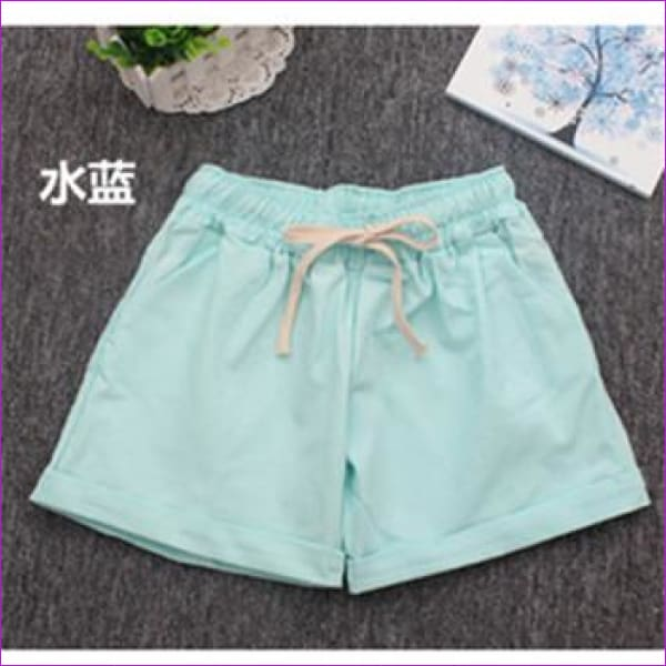 Women Cotton Shorts 2017 Summer Fashion Candy Color Elastic Waist Drawstring Short Pants Woman Casual Plus Size Shorts - Skyblue / One Size