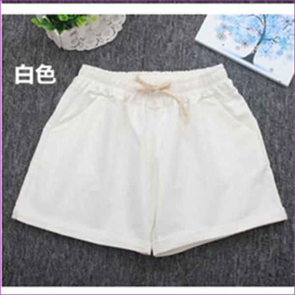 Women Cotton Shorts 2017 Summer Fashion Candy Color Elastic Waist Drawstring Short Pants Woman Casual Plus Size Shorts - White / One Size -