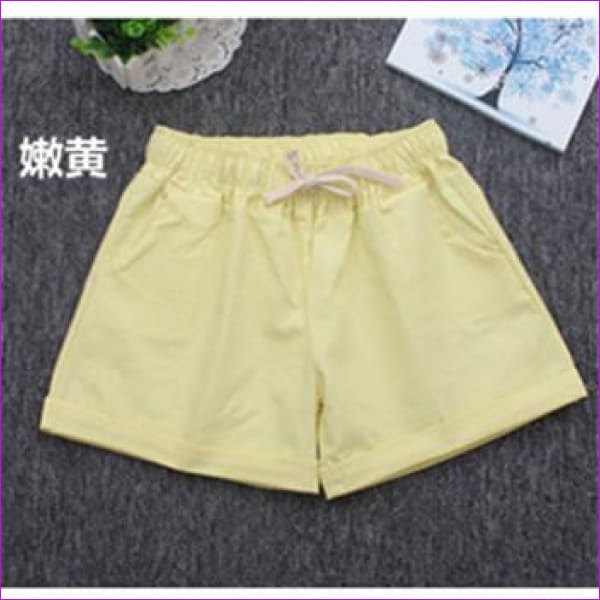 Women Cotton Shorts 2017 Summer Fashion Candy Color Elastic Waist Drawstring Short Pants Woman Casual Plus Size Shorts - Yellow / One Size -