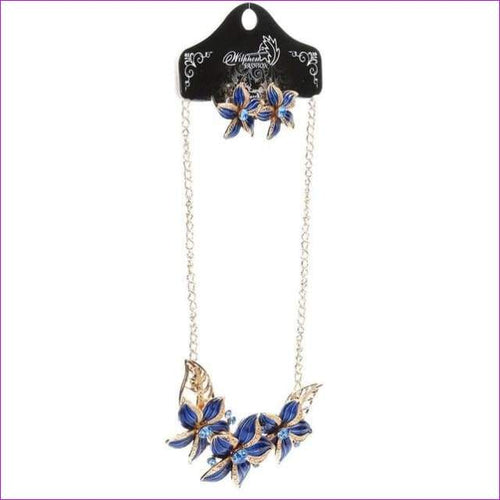 Women Crystal Enamel Flower Pendant Necklace Earrings Jewelry Set Flower Drops Set Necklace #py30 - Blue / China - Jewelry Sets