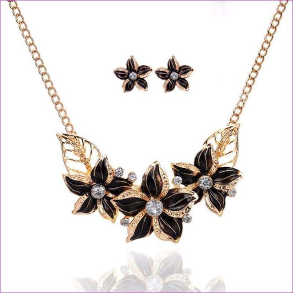 Women Crystal Enamel Flower Pendant Necklace Earrings Jewelry Set Flower Drops Set Necklace #py30 - Jewelry Sets