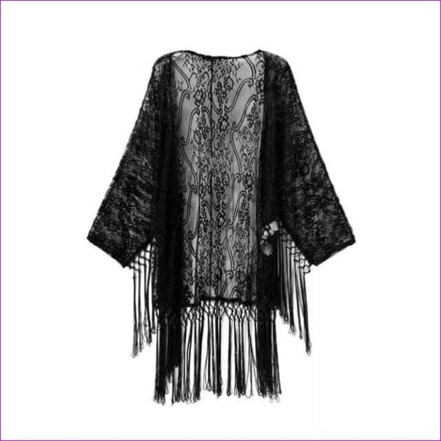 Women Floral Lace Bikini Cover Up Leisure Sexy Swimwear Beach Cover Up Bikini - Black / S - Beach Cover Ups