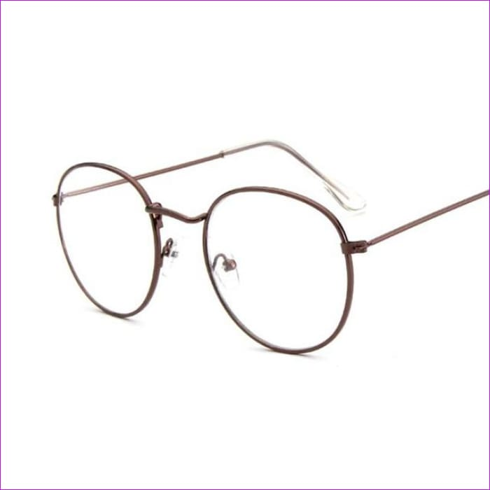 Women Glasses Frame Men Eyeglasses Frame Vintage Round Clear Lens Transparent Sun Glasses Frame Women - Copper - Sun Glasses Sun Glasses