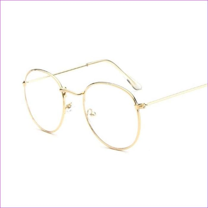 Women Glasses Frame Men Eyeglasses Frame Vintage Round Clear Lens Transparent Sun Glasses Frame Women - Gold - Sun Glasses Sun Glasses