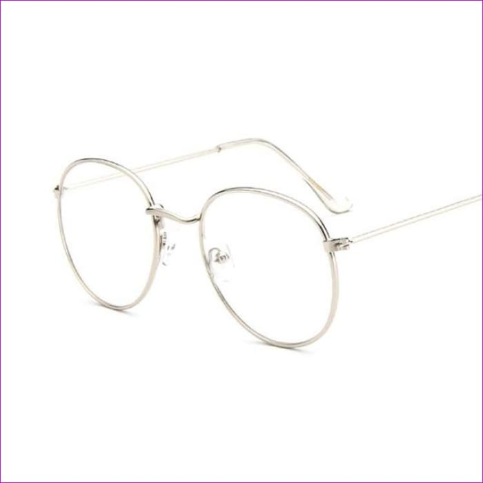 Women Glasses Frame Men Eyeglasses Frame Vintage Round Clear Lens Transparent Sun Glasses Frame Women - Silver - Sun Glasses Sun Glasses